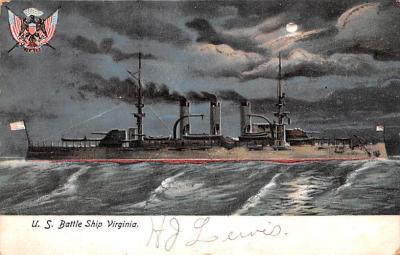 mil051596 - Military Battleship Postcard, Old Vintage Antique Military Ship Post Card