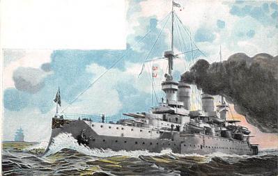 mil051657 - Military Battleship Postcard, Old Vintage Antique Military Ship Post Card