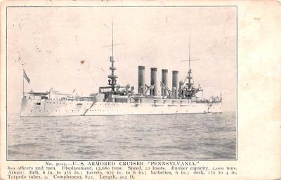 mil051741 - Military Battleship Postcard, Old Vintage Antique Military Ship Post Card