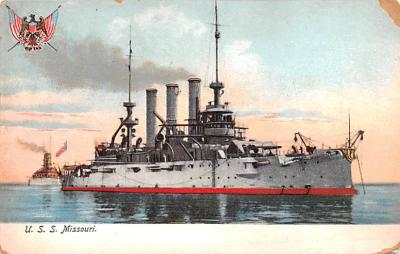 mil051898 - Military Battleship Postcard, Old Vintage Antique Military Ship Post Card