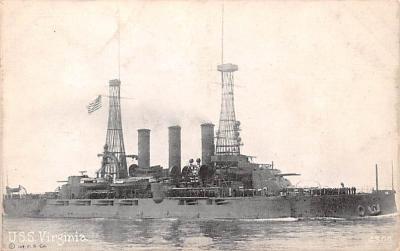 mil051916 - Military Battleship Postcard, Old Vintage Antique Military Ship Post Card