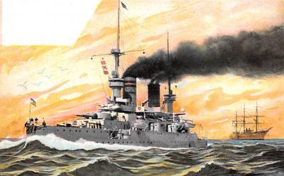 mil051943 - Military Battleship Postcard, Old Vintage Antique Military Ship Post Card