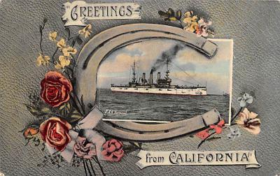 mil052106 - Military Battleship Postcard, Old Vintage Antique Military Ship Post Card