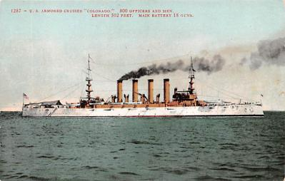 mil052173 - Military Battleship Postcard, Old Vintage Antique Military Ship Post Card