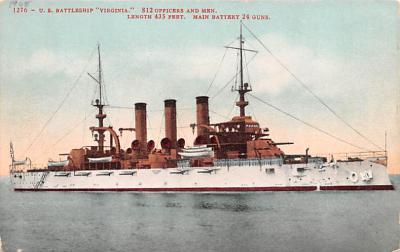 mil052200 - Military Battleship Postcard, Old Vintage Antique Military Ship Post Card