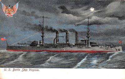 mil052216 - Military Battleship Postcard, Old Vintage Antique Military Ship Post Card