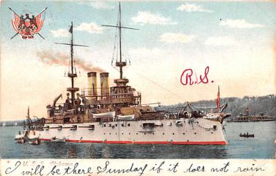 mil052220 - Military Battleship Postcard, Old Vintage Antique Military Ship Post Card