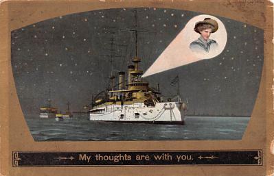 mil052223 - Military Battleship Postcard, Old Vintage Antique Military Ship Post Card