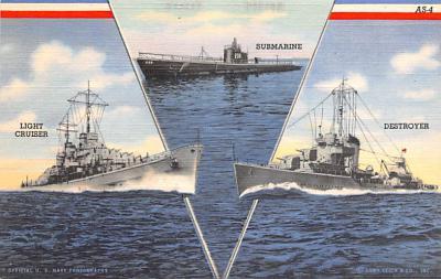 mil052326 - Military Battleship Postcard, Old Vintage Antique Military Ship Post Card