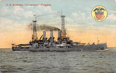 mil052391 - Military Battleship Postcard, Old Vintage Antique Military Ship Post Card