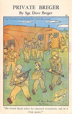 mil201002 - Military Comic Postcard, Old Vintage Antique Post Card