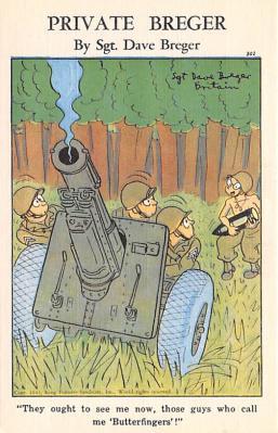 mil201003 - Military Comic Postcard, Old Vintage Antique Post Card