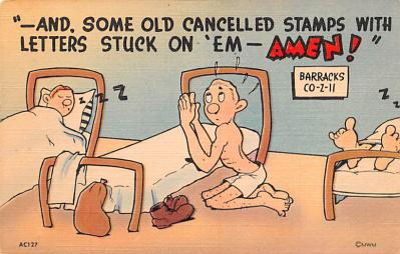 mil201021 - Military Comic Postcard, Old Vintage Antique Post Card