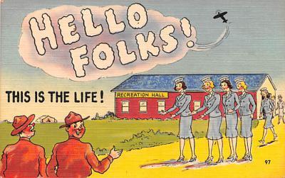 mil201113 - Military Comic Postcard, Old Vintage Antique Post Card