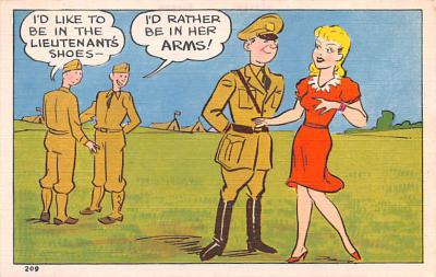 mil201133 - Military Comic Postcard, Old Vintage Antique Post Card