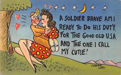 mil201199 - Military Comic Postcard, Old Vintage Antique Post Card