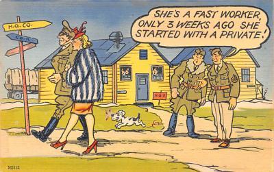 mil201204 - Military Comic Postcard, Old Vintage Antique Post Card