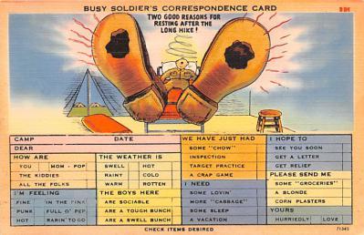 mil201214 - Military Comic Postcard, Old Vintage Antique Post Card