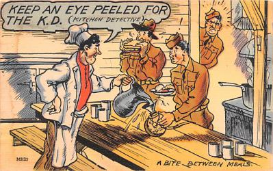 mil201237 - Military Comic Postcard, Old Vintage Antique Post Card