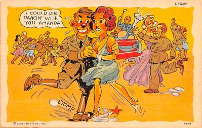 mil201248 - Military Comic Postcard, Old Vintage Antique Post Card