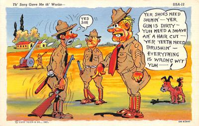 mil201267 - Military Comic Postcard, Old Vintage Antique Post Card