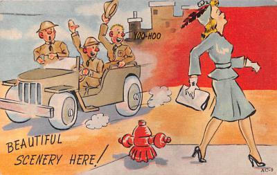 mil201294 - Military Comic Postcard, Old Vintage Antique Post Card