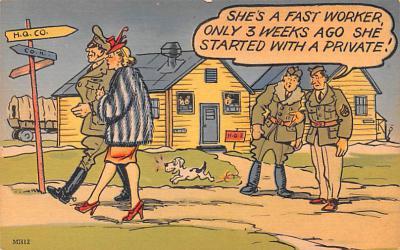 mil201330 - Military Comic Postcard, Old Vintage Antique Post Card