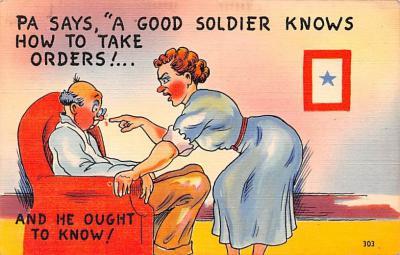 mil201350 - Military Comic Postcard, Old Vintage Antique Post Card