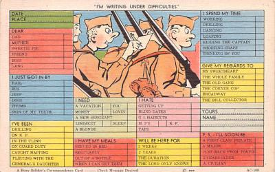 mil201407 - Military Comic Postcard, Old Vintage Antique Post Card