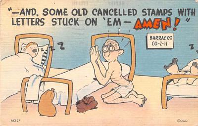 mil201408 - Military Comic Postcard, Old Vintage Antique Post Card