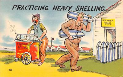 mil201421 - Military Comic Postcard, Old Vintage Antique Post Card