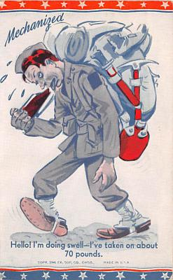 mil201430 - Military Comic Postcard, Old Vintage Antique Post Card