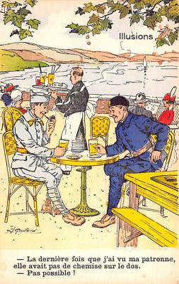 mil201431 - Military Comic Postcard, Old Vintage Antique Post Card