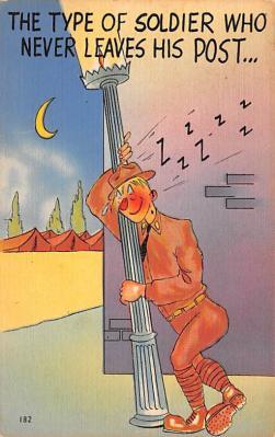 mil201475 - Military Comic Postcard, Old Vintage Antique Post Card
