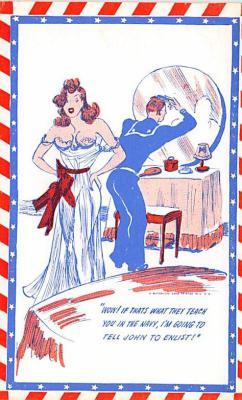 mil201492 - Military Comic Postcard, Old Vintage Antique Post Card
