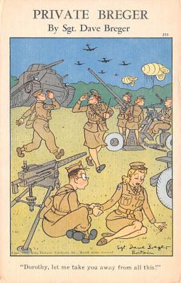 mil201498 - Military Comic Postcard, Old Vintage Antique Post Card