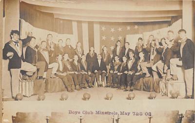 min000028 - Boy Club Minstrels, May 1908 Minstrel Postcard Post Cards Old Vintage Antique