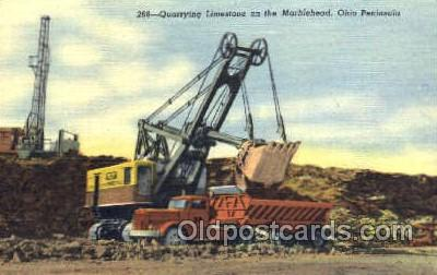 mng001034 - Quarrying Limestone on the Marblehead, Ohio, USA Peninsula, Mining Postcard Postcards