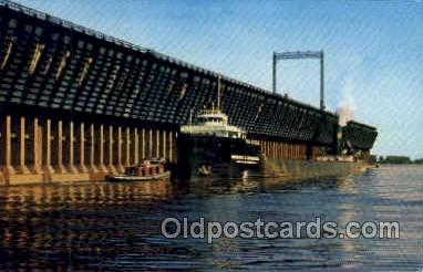 mng001130 - Ore dock and freighter Mine, Mining, Postcard Postcards
