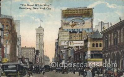 mns001020 - The Great White way, Broadway, New York, USA Main Steet Postcard Postcards
