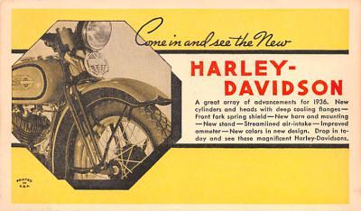 mot000007 - Harley Davidson Advertising, Motorcycle Postcard Postcards