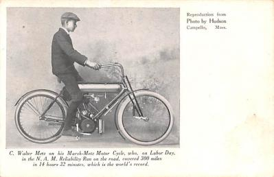 C. Water Metz on his Marsh-Mesh Motor Cycle