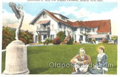 msh001022 - Mary & Douglas Fairbanks, Beverly Hills, CA Movie Star Homes Postcard Postcards