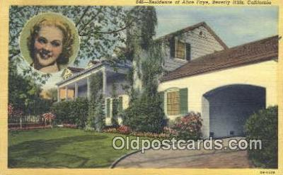 msh001040 - Alice Fay, Beverly Hills, CA, USA Movie Star, Actor / Actress, Post Card Postcard
