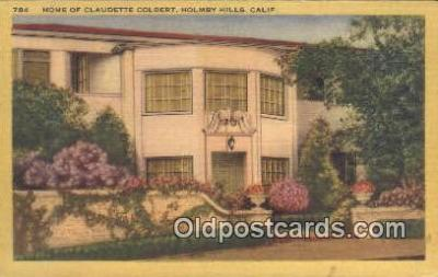 msh001047 - Claudette Colbert, Holmby hills, CA, USA Movie Star, Actor / Actress, Post Card Postcard