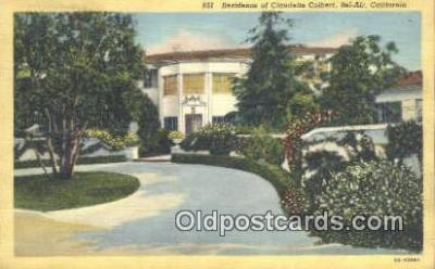 msh001063 - Claudette Colbert, Holmby hills, CA, USA Movie Star, Actor / Actress, Post Card Postcard