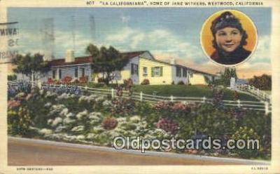 msh001108 - Jane Withers, Westwood Villiage, Los Angeles, CA Movie Star, Actor / Actress, Post Card Postcard