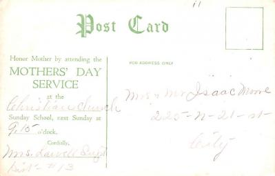 mth000027 - Mothers Day Old Vintage Postcard Post Card  back