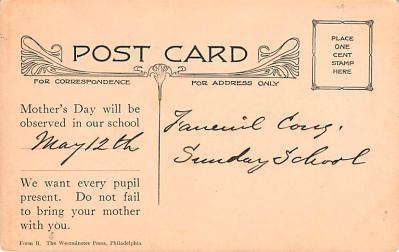 mth000041 - Mothers Day Old Vintage Postcard Post Card  back