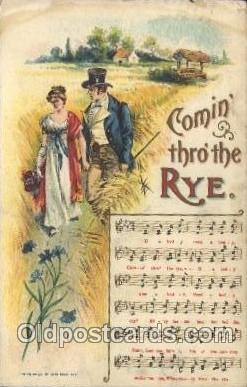 mus002011 - Comiing thro' the RYE. Music Postcard Postcards